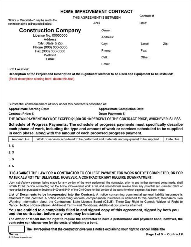 28 California Home Improvement Contract Template In 2020
