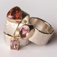Hand made silver and 9ct gold stone set rings by Susanna Hanl available at Franny & Filer Jewellery shop in Chorlton - www.frannyandfiler.com - £260 each