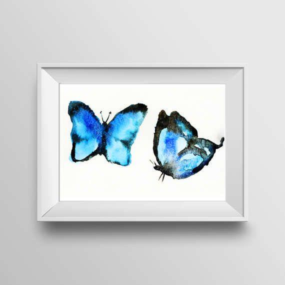 blauer Schmetterling Wasserfarben PRINT von Finarive auf Etsy