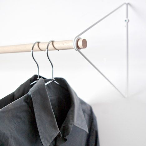 fifti fifti 39 s spring simplifies the wardrobe into a wall mounted clothes rail product pinterest. Black Bedroom Furniture Sets. Home Design Ideas