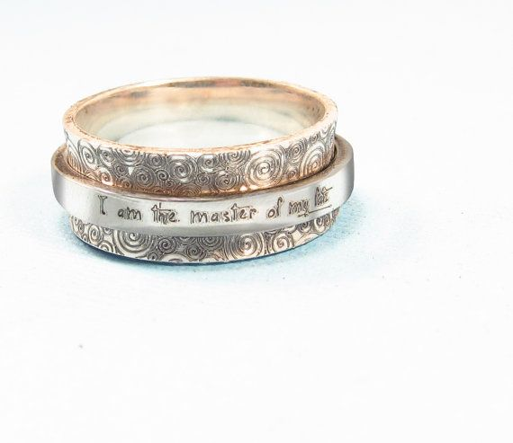A beautiful sterling silver spinner ring that is completely customizable! You choose the pattern and the wording (or 2 patterns!). The widest rings