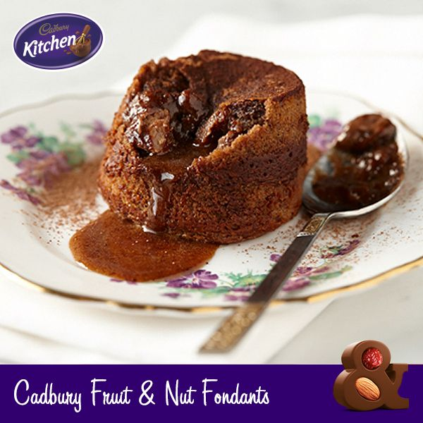 OOH so gooey… these delicious little #Cadbury Dairy Milk #Fruit and Nut #puddings are delicious to share at a special #dinner! #dessert