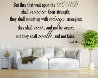 Check out Isaiah 40:31 KJV Vinyl Wall Scripture But They That Wait Upon The LORD Custom Vinyl Lettering Custom Wall Decal Bible Quote Wings As Eagles on inspirationwallsigns
