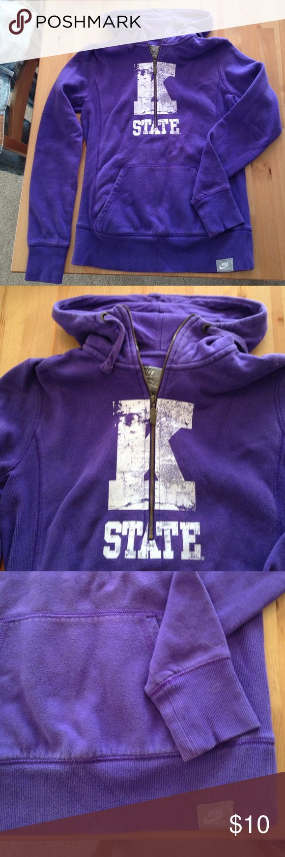 Kansas state university ksu Nike sweatshirt 3/4 quarter zip sweatshirt with hood. Kstate printed on front with vintage willie on the hood. Very loved but now too small. Fading in fabric. Nike Tops Sweatshirts & Hoodies