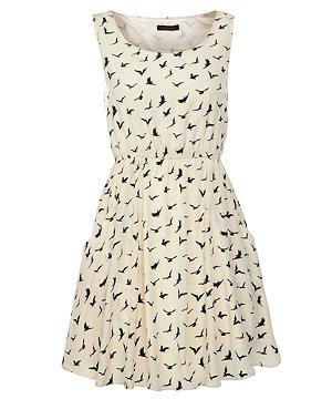 Monochrome Bird Print Dress