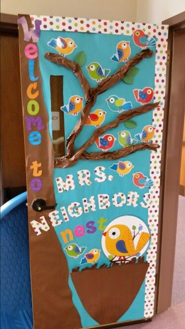 Boho birds preschool door