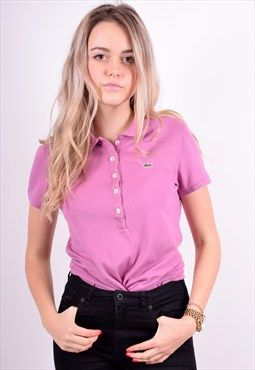 Lacoste Womens Vintage Polo Shirt Size 12 Purple 90's