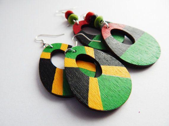 African Earrings Wood Earrings Jamaican Jewelry Red Black Green Earrings Afrocentric Jewelry African American Earring Cute Statement Cute by TheBlackerTheBerry