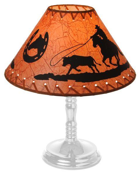 (JT-87-93408) ''Calf Roper'' Western Lamp Shade