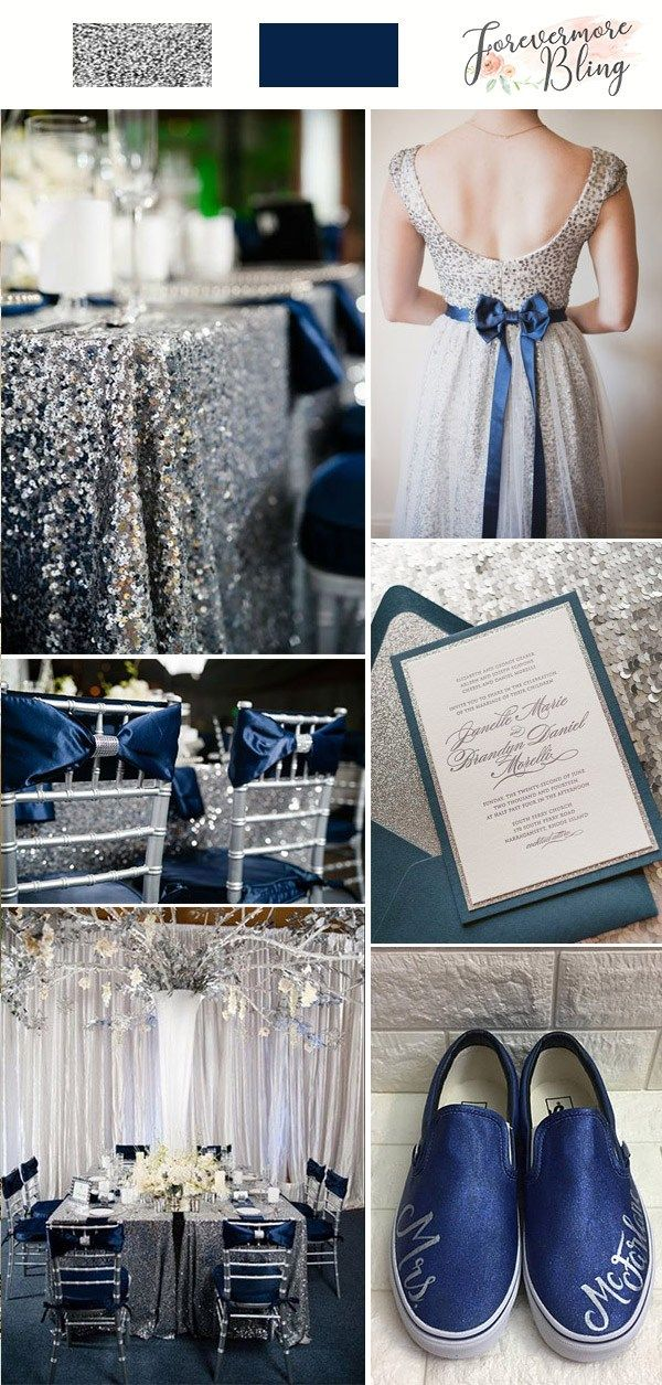 Silver Glitter Navy Blue Wedding Palette Wedding Dress Chair Table