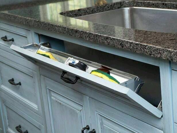 """Cool way to use that """"wasted"""" space in front of the sink"""
