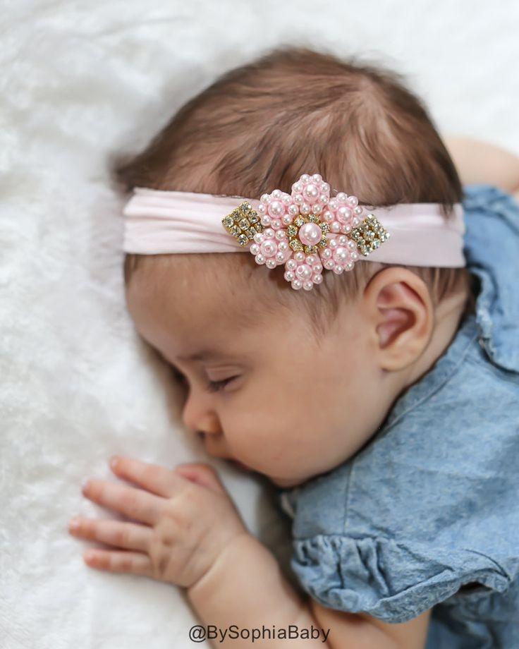 Baby Headband Light Pink Pearl Flower Headband by BySophiaBaby