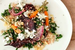Kale, quinoa and roasted beet salad with marinated feta
