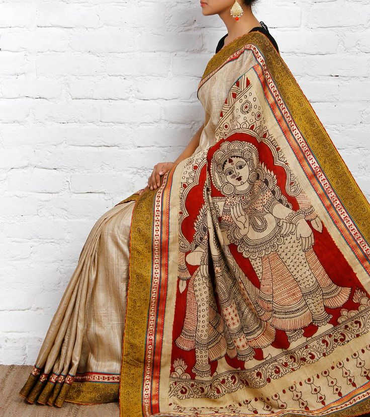 Beige Handloom Tussar Silk Saree with Kalamkari   Pakhi