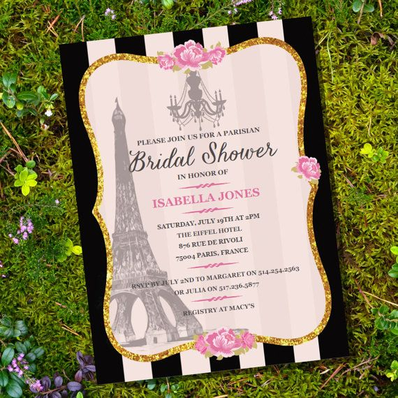 French Parisian Bridal Shower Invitation Gold by SunshineParties on #Etsy.....Lovely! #FrenchParisianBridalShower #FrenchParisianShower