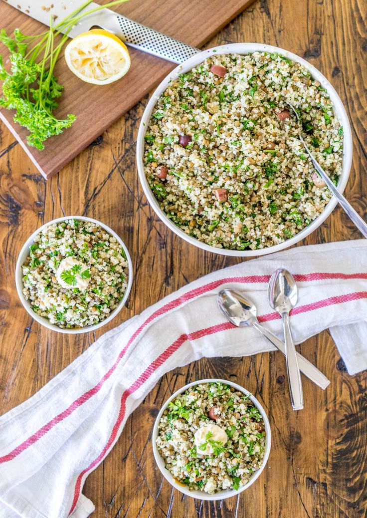 Quinoa Tabbouleh with Lentils and Olives | One Ingredient Chef