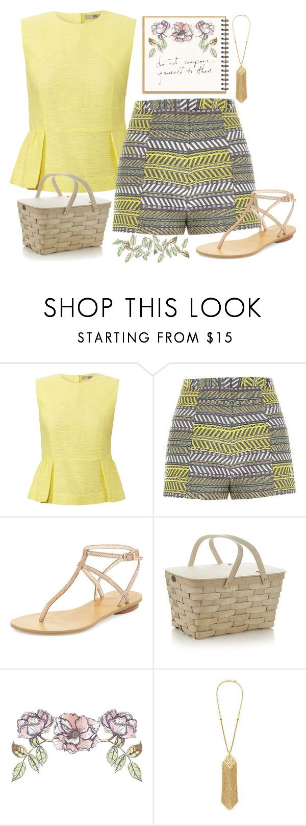 """""""Picnic for One"""" by latenightthursday ❤ liked on Polyvore featuring Orla Kiely, River Island, Pelle Moda, Crate and Barrel, Universal Lighting and Decor, yellow, picnic, summerstyle and simplebutneverplain"""