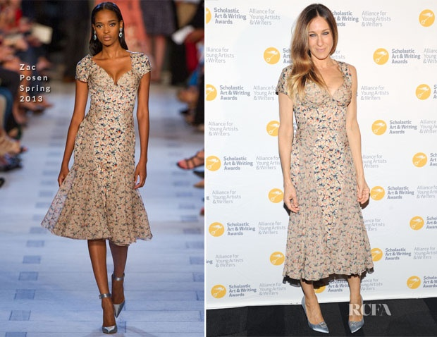 SJP attended the 2013 Alliance for Young Artists & Writers Awards wearing Zac Posen floral bustier dress where she opted for a one sleeve look for uniqueness, completing the look was Roger Vivier jewel pumps!