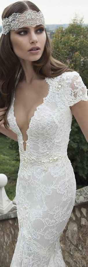 love the headpiece made to match the lace of the dress!!!  Best Beautiful Wedding Dresses for 2015 | MomsMags Weddings