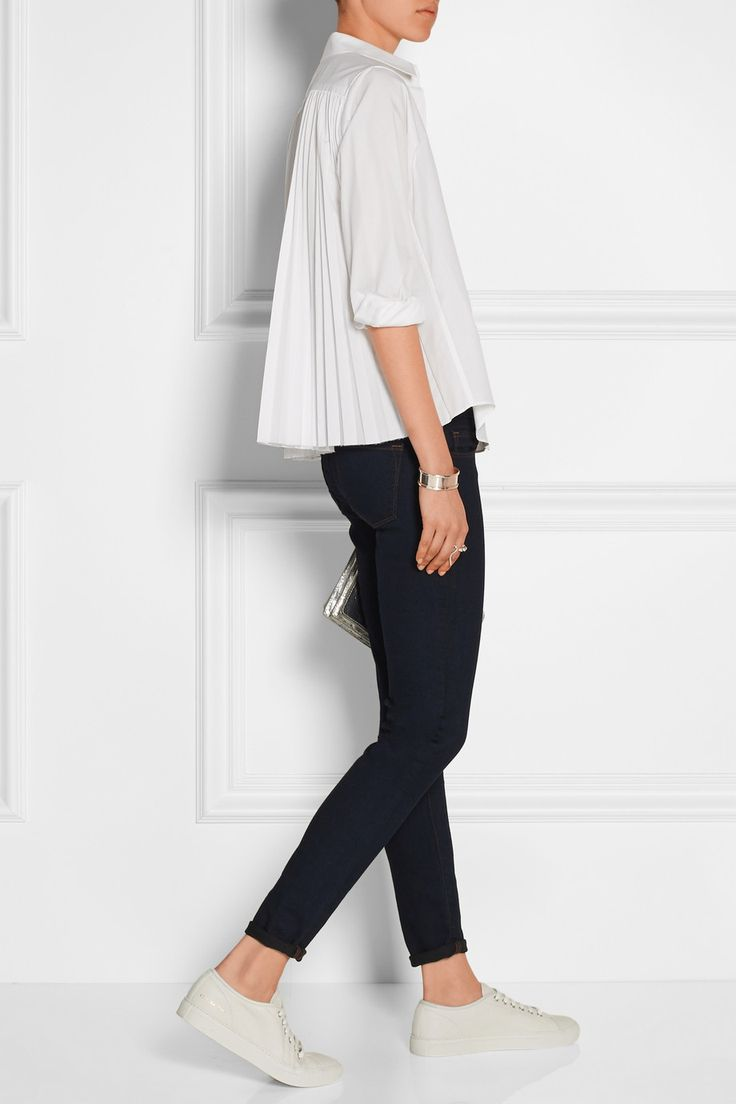 SACAI Sacai Luck pleated poplin shirt £180 | J BRAND 811 mid-rise skinny jeans £160 | COMMON PROJECTS Tournament leather sneakers £240