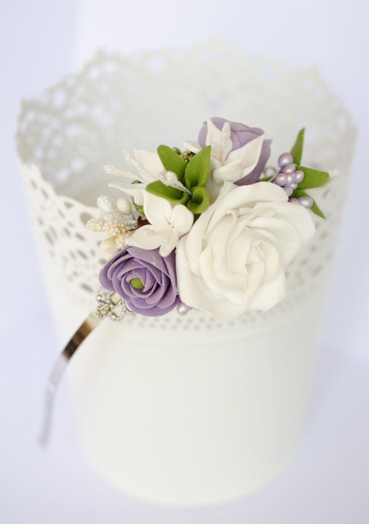 CLAY flowers - white rose - Anaber style
