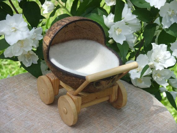 Wooden Doll Carriage with Felt Wool Mattress, Children Toy Stroller, Natural, Eco, Rustic, Waldorf
