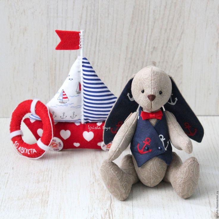 Купить Зайчата LoveStory - синий, пара зайцев, подарок на годовщину, подарок на свадьбу, свадебный подарок