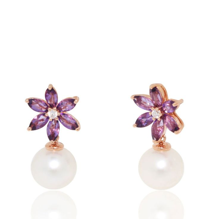 Amethyst Flower Earrings with Diamond (0.05 ct) centre and dangling freshwater Pearl (9mm). 18K Rose Gold Earrings