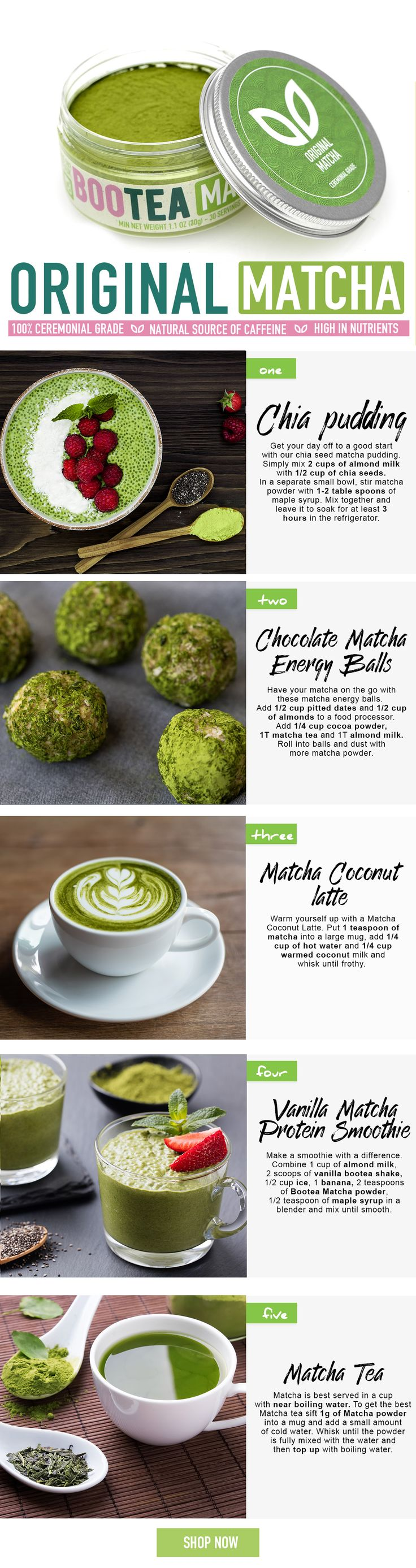 Not sure what to make with your new Bootea Matcha powder? Why not try making chia pudding, or the chocolate energy protein balls? Matcha is Perfect as a tea, or to boost the flavour and nutrient profile of shakes and smoothies. Our Matcha green tea is 100% ceremonial grade all the way from Japan.
