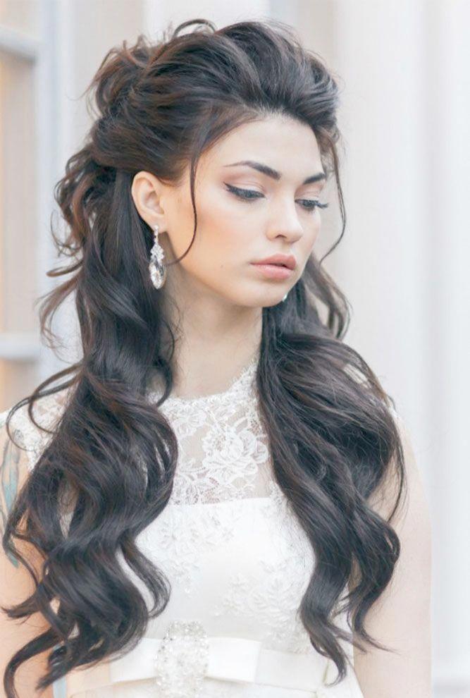 Simple Wedding Hairstyles For Long Hair Diy Wedding Hairstyles Bangs Weddinghairstyles Hair Styles Long Hair Styles Half Updo Hairstyles