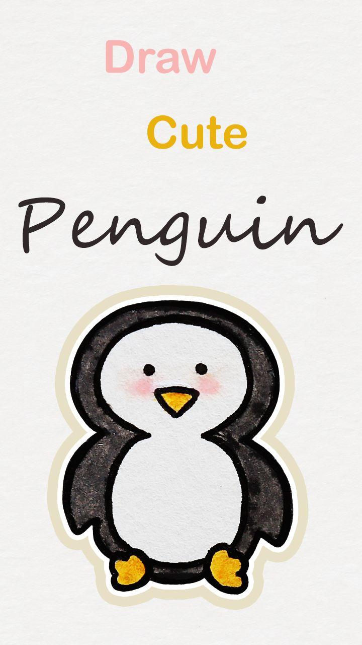 Penguin Drawing Easy Cute : penguin, drawing, Learn, Penguin,, Kawaii, Tutorial, #kawaii, #drawing, #tutorial, #peng…, Penguin, Drawing, Easy,, Doodle, Drawings