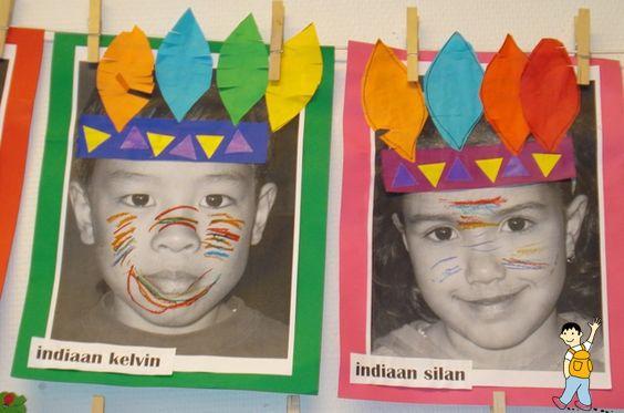 Proyecto de los indios. Tapa álbum escolar con la foto de los niños decorada como indios