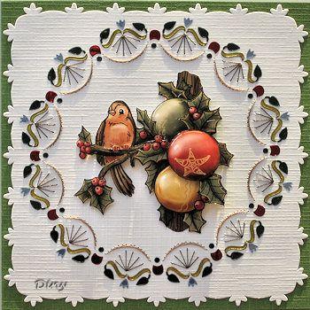 Kerstkaart met borduren en dotten