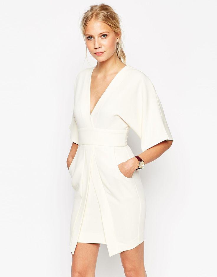 Image 1 ofASOS Mini Asymmetric Pocket Dress with Kimono Sleeves