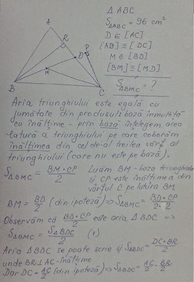 Matematică - rezolvări detaliate: Aria triunghiului - clasa a VI-a