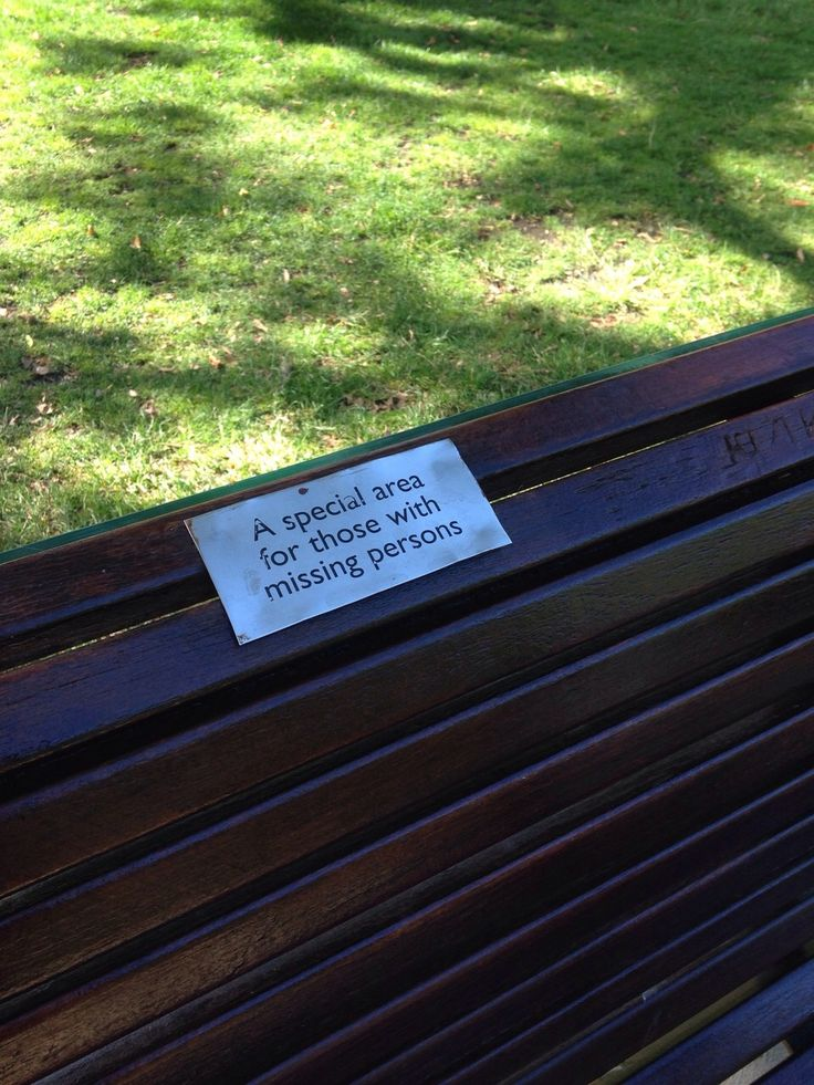 Seat in the Gardens dedicated to those pondering over their missing family members or friends