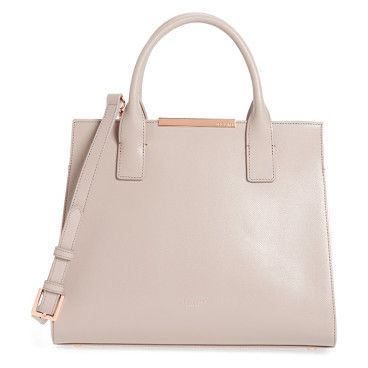 mini colorblock leather tote by Ted Baker London. A prim, lightly textured leather tote features a sleek logo bar at the closure and arresting color-blocked insets at ...