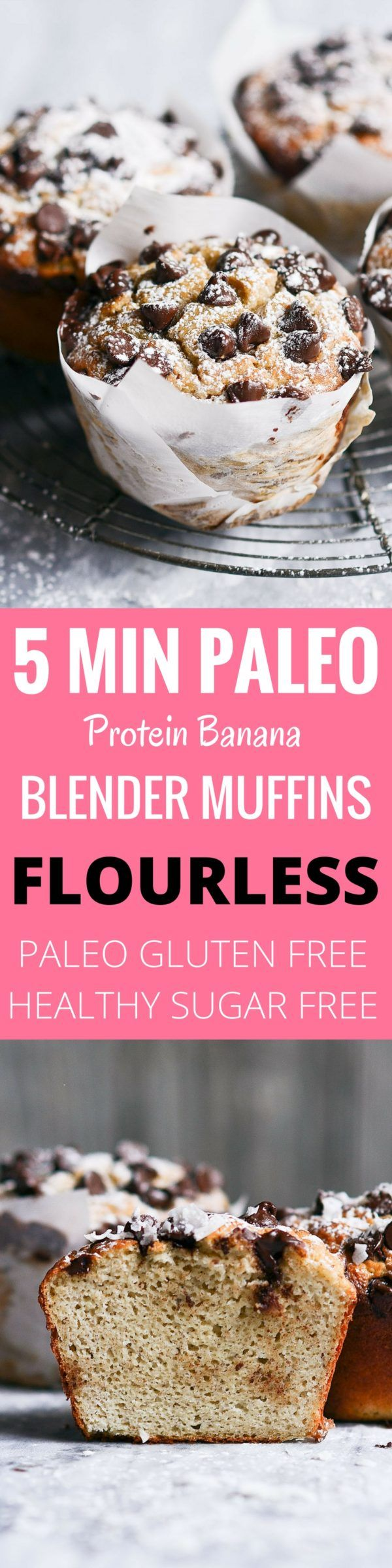 Insanely delicious 5 Minute blender muffins! And they are paleo, flourless, and good for you! These healthy protein packed banana muffins are the perfect easy breakfast idea.