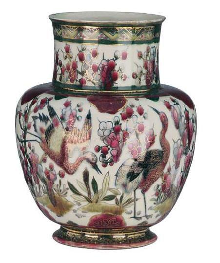 Zsolnay vase, between 1883-85, work of Júlia Zsolnay
