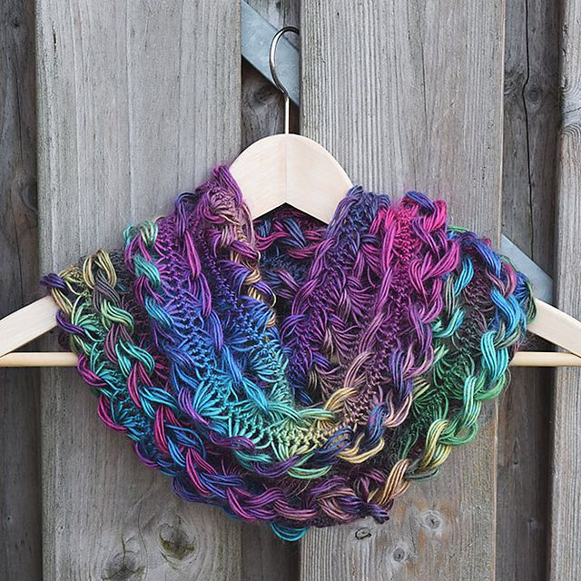 Ravelry: nemzor's Rainbow Braided Hairpin Lace Infinity Scarf                                                                                                                                                                                 More