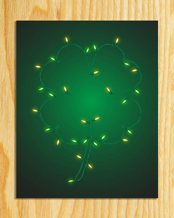 St. Patrick's Day Four Leaf Clover Light Strand by KVPgraphics, $5.00