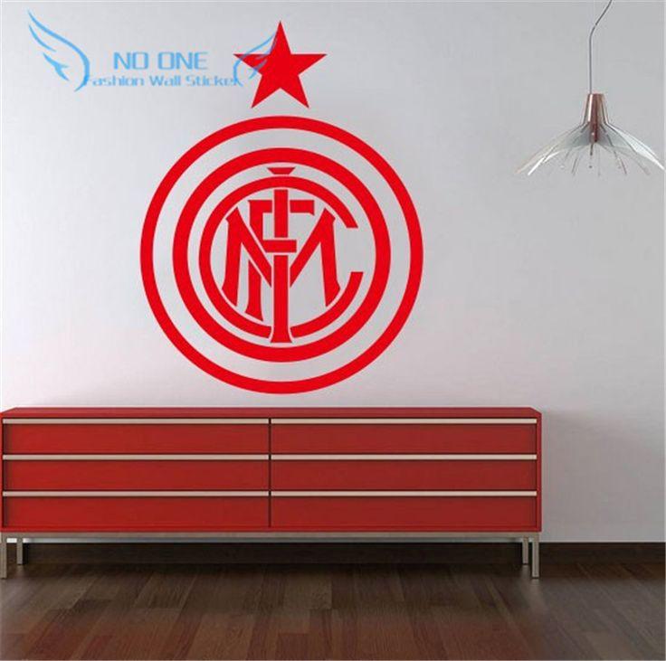 wall art DIY home decoration removable Inter Milan football Europe League team logo wall stickers living room bedroom den