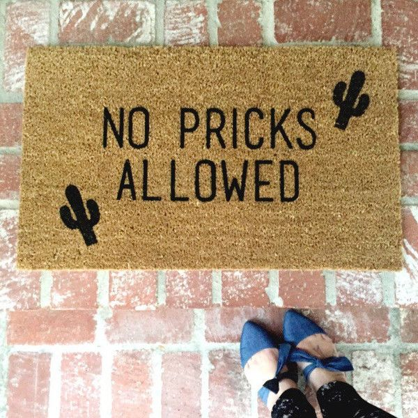 "The original ""No Pricks Allowed"" Cactus Doormat, 18x30 outdoor mat,... ($54) ❤ liked on Polyvore featuring home, outdoors, outdoor decor, welcome door mats, outdoor welcome mats, country garden decor and outdoor doormats"