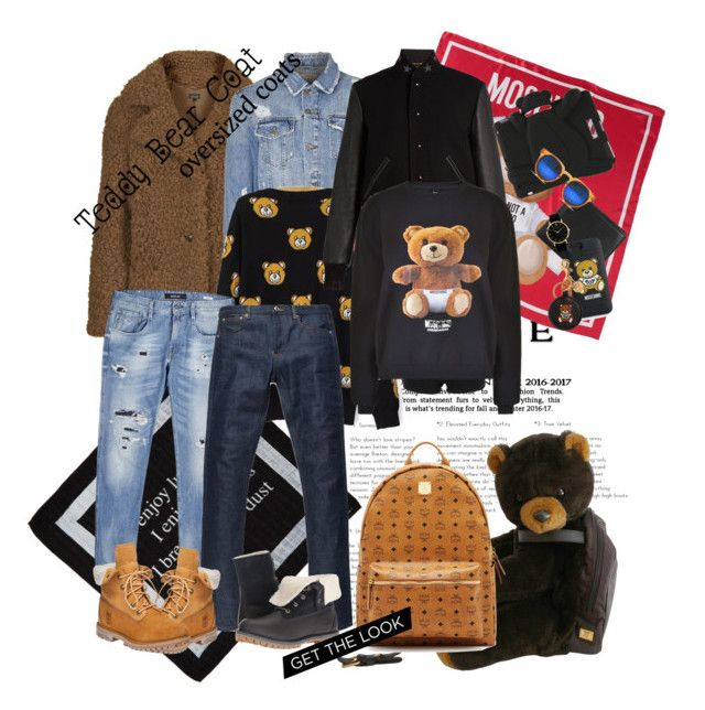 Teddy bear look for men🐻 by sabrina-kang on Polyvore featuring polyvore, мода, style, Moschino, Yves Saint Laurent, Timberland, Spitfire, MCM, Julius, Larsson & Jennings, Replay, A.P.C., McQ by Alexander McQueen, Topman, fashion and clothing