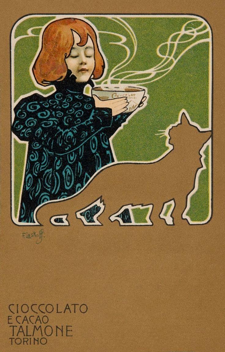 songesoleil: Cioccolato e Cacao Talmone Torino.c.1901. Talmone Chocolate and Cocoa, Turin. Art by Franz Laskoff.(1869-1918).
