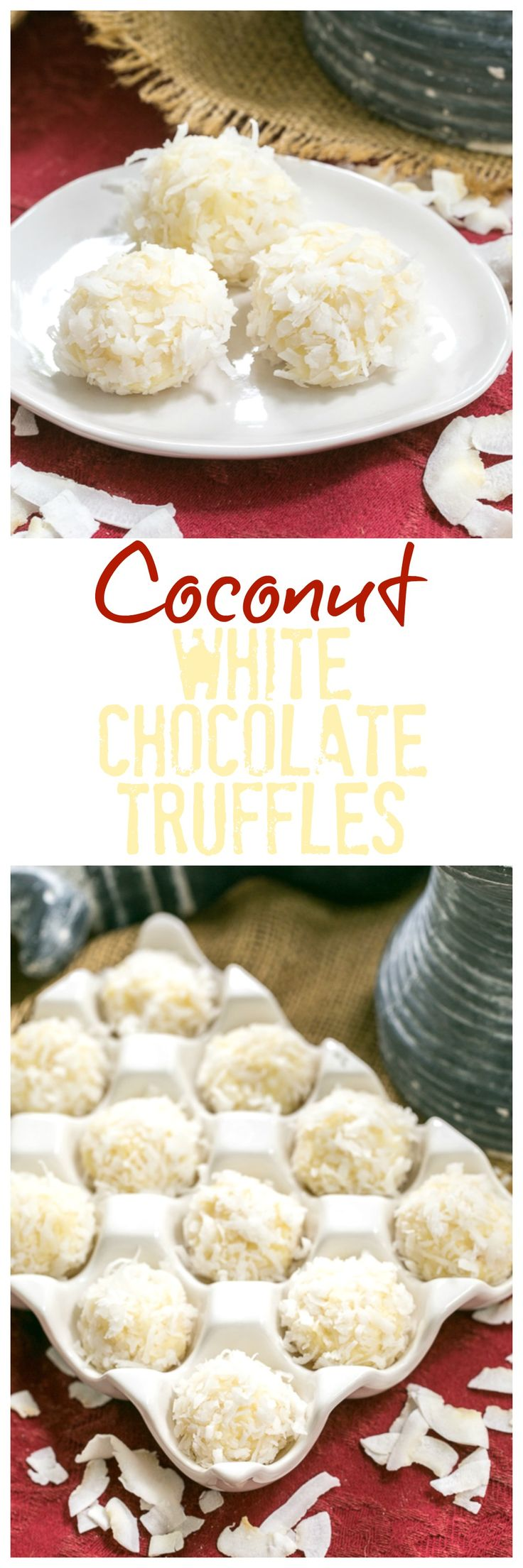 Coconut White Chocolate Truffles | An easy, decadent 4 ingredient recipe @lizzydo
