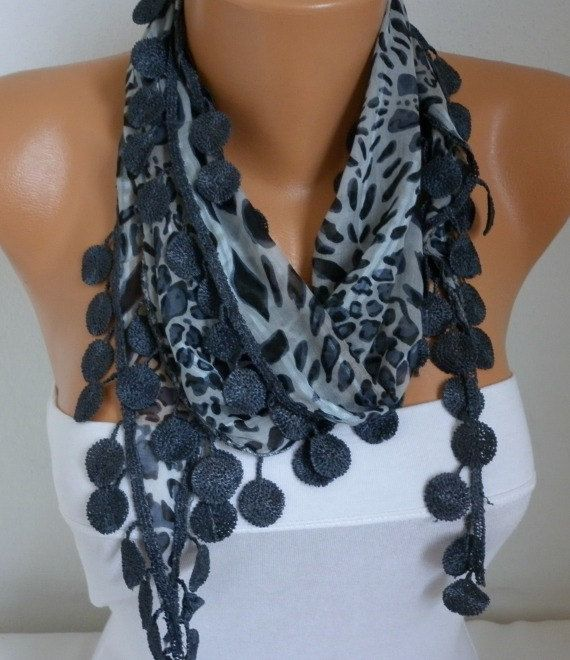ON SALE  50 OFF  Gray Leopard Scarf   Cotton  Scarf  by fatwoman, $7.50