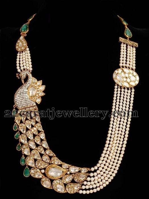 Jewellery Designs: Pearls Haram with Peacock Polki Motif
