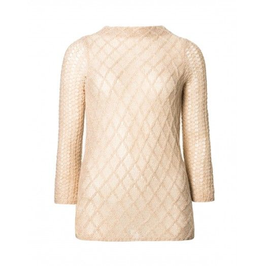 FRONT OF SWEATER.  Long sleeve jumper, made from blend of mohair and lurex lace effect, backside pearl button closure. Slight A-line fit.