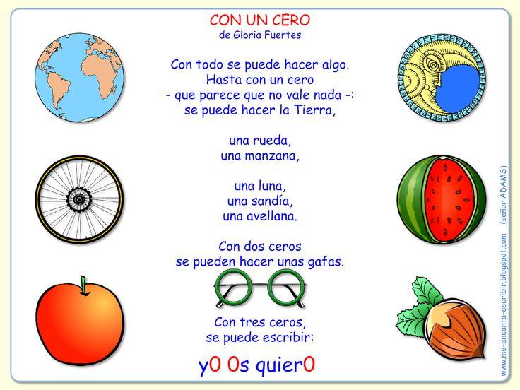 Me encanta escribir en español: Poema: Con un cero de Gloria Fuertes.